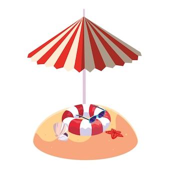 Playa de arena de verano con sombrilla y flotador.