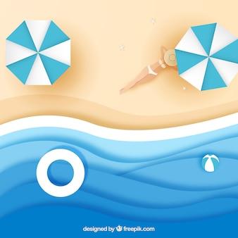 Playa desde arriba en estilo papel
