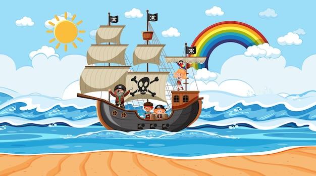 Playa con barco pirata en escena diurna en estilo de dibujos animados