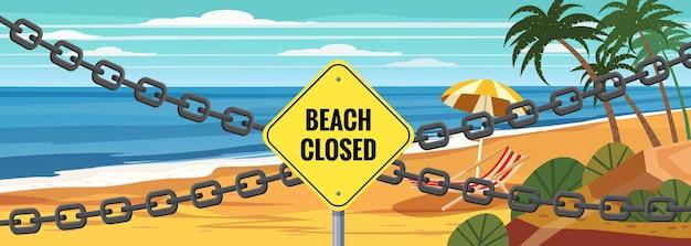 Playa cadena de señal cerrada entrada en la playa cerrada