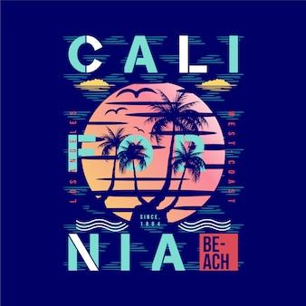 Playa de california con diseño gráfico de fondo de palmera