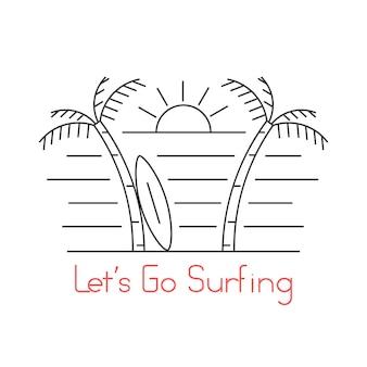 Playa de delgada línea con tabla de surf. concepto de orilla del mar, sol, estilo de vida, buceo, cultura hippie, isla. aislado sobre fondo blanco. ilustración de vector de diseño de logotipo moderno de tendencia de estilo lineal