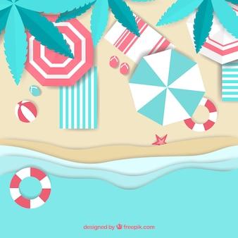 Playa desde arriba en estilo de papel
