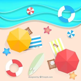 Playa desde la cima en estilo de papel