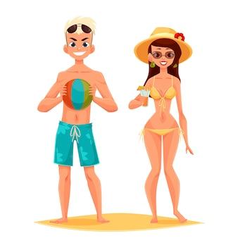 Playa de dibujos animados un par de jovenes