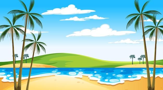 Playa en la escena del paisaje diurno con fondo de cielo