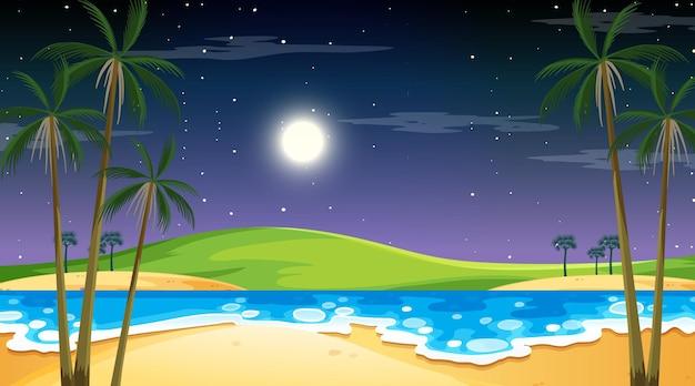 Playa en escena de paisaje nocturno con palmera.