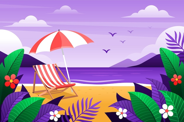 Playa con fondo de zoom de hojas tropicales