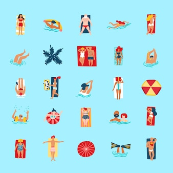 Playa gente divertida colección de iconos planos
