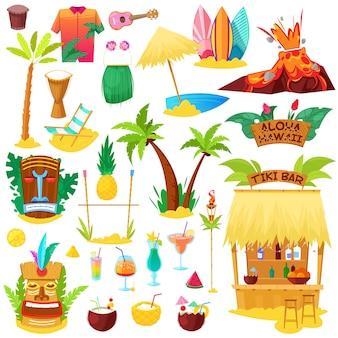 Playa hawaiana de hawai con palmeras tropicales y tumbonas o cócteles frutales exóticos en conjunto de ilustración de vacaciones de verano de máscara de hula tiki e iconos de surf sobre fondo blanco