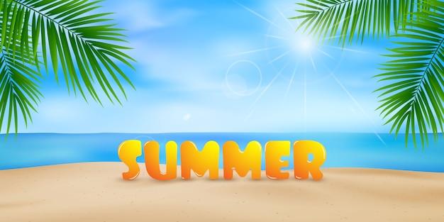 La playa con hojas de palmera junto con el diseño caligráfico de fondo de verano