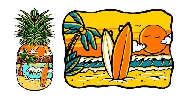 Playa de la isla surfista