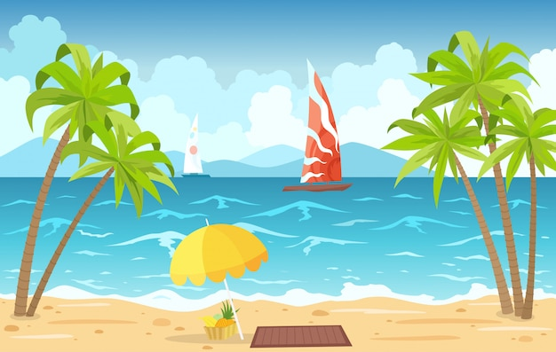 Playa de mar y tumbonas.