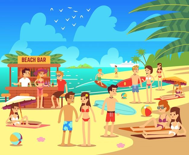 Playa del mar de verano con tomar el sol relajante ilustración de mujeres y hombres jóvenes