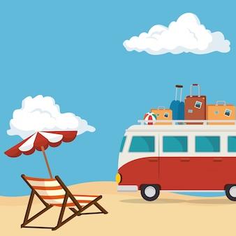 Playa marina hermosa escena