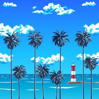Playa de palmeras y el cielo azul con nubes