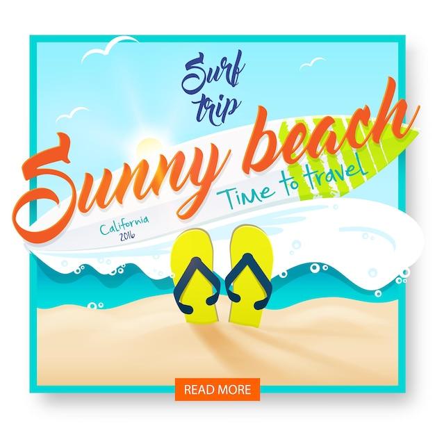 Playa soleada. viaje de surf. fiesta de surf en la playa