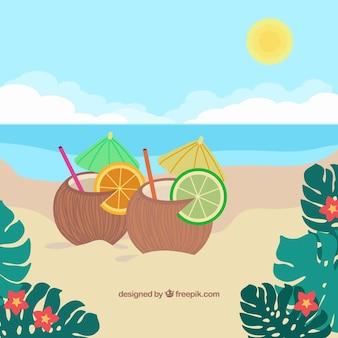 Playa tropical adorable con diseño plano