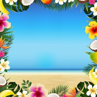 Playa tropical con mar y arena con hojas y frutas tropicales