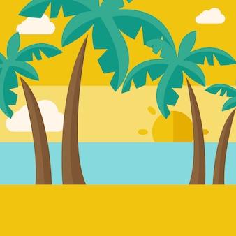 Playa tropical con nubes y puesta de sol