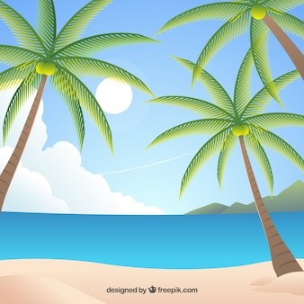 Playa tropical paradisíaca con diseño plano