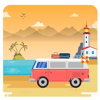 Playa vacaciones ilustración con paisaje atardecer cielo fondo