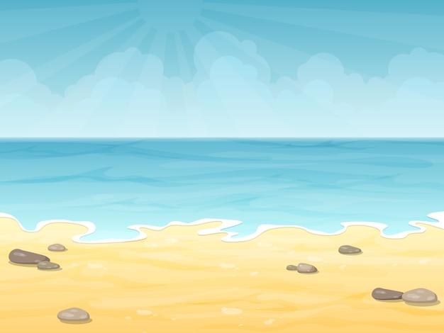 Playa vacía del mar del verano. mar, cielo y arena. vector de fondo de vacaciones.
