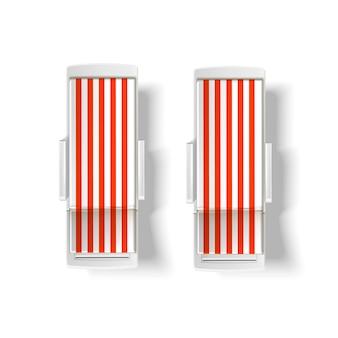 Playa de vector, maqueta de vista superior de tumbona de piscina