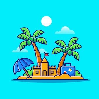 Playa de verano, castillo de arena y dibujos animados de árboles de coco