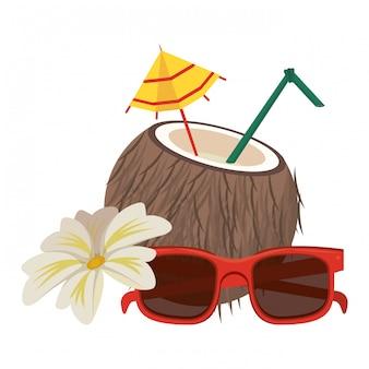 Playa de verano y dibujos animados de vacaciones