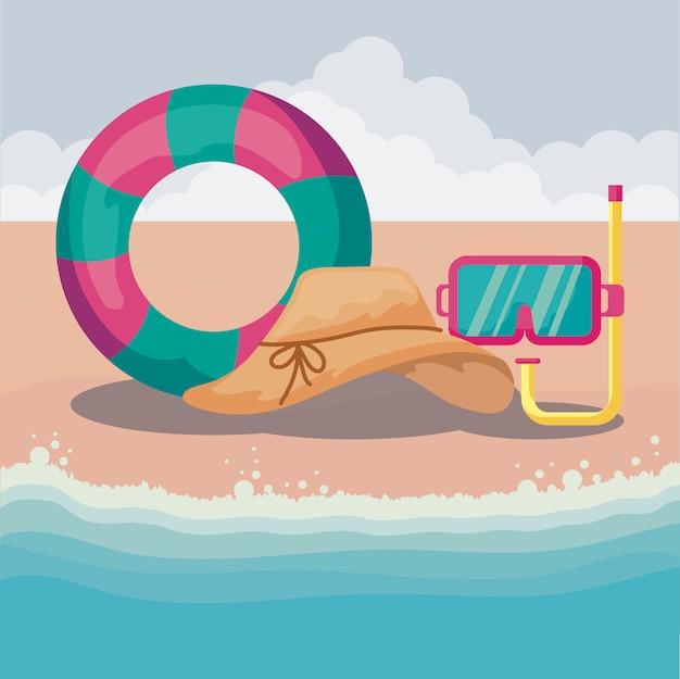 Playa de verano con flotador con set de iconos