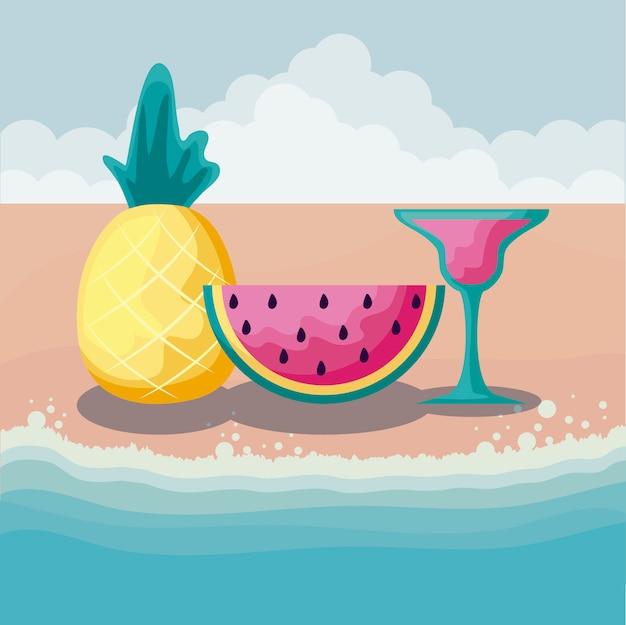 Playa de verano con fruta de piña y establecer iconos