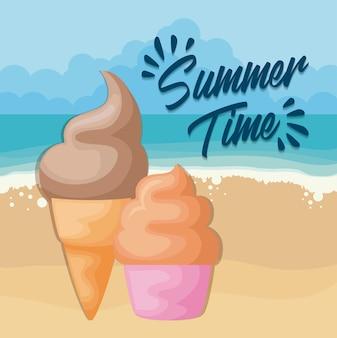 Playa de verano con helado y cupcake.