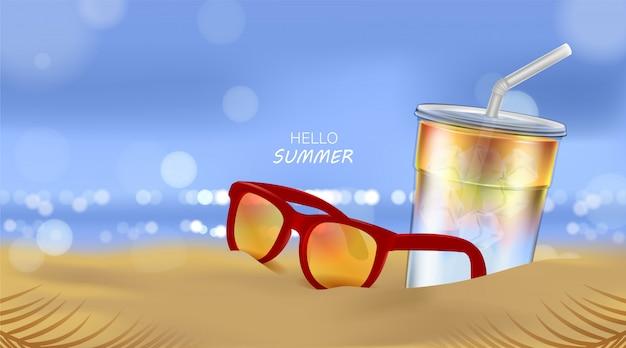 Playa de verano y luz solar del mar, cóctel de soda y gafas de sol en el fondo de la playa en la ilustración 3d