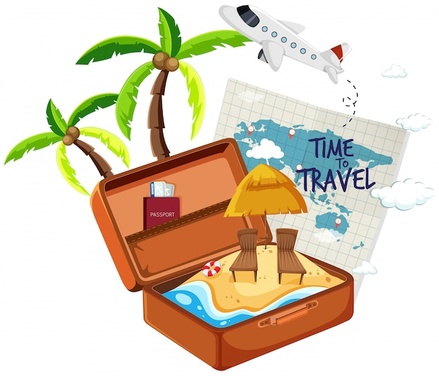 Playa de verano en la maleta.