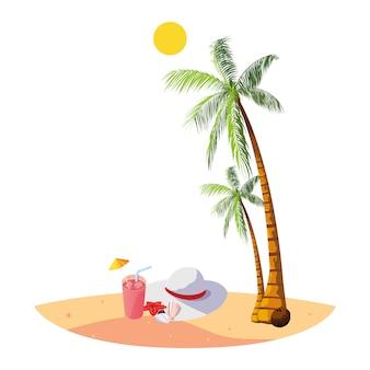Playa de verano con palmeras y escena de sombrero femenino.