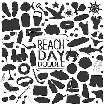 Playa verano silueta vector clip art