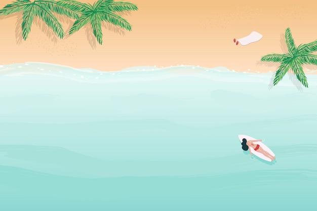 Playa de verano superior arial vista fondo acuarela estilo