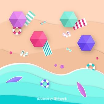 Playa vista desde arriba en estilo papel