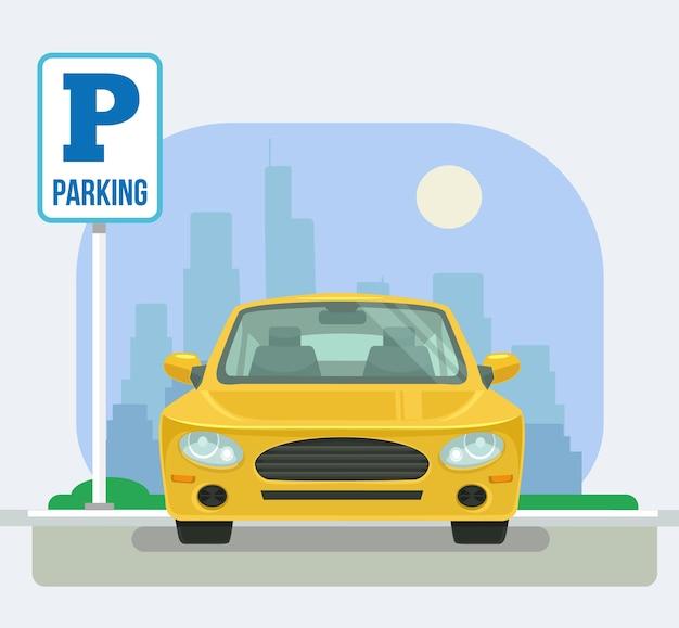 Plaza de aparcamiento con un coche.
