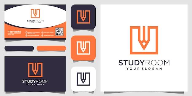 Plaza creativa con la inspiración del logotipo del concepto de lápiz. y diseño de tarjetas de visita