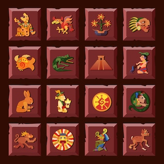 Plaza maya con civilización y cultura símbolos plano aislado ilustración vectorial