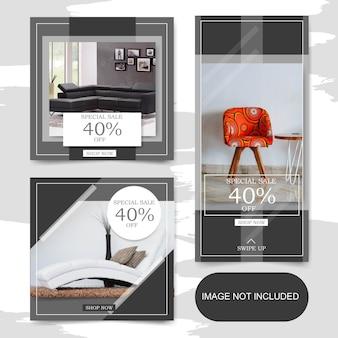 Plaza de pancartas de venta de muebles interiores y conjunto de historias para publicación de instagram