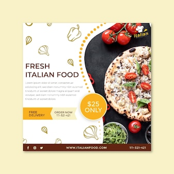 Plaza de volante de comida italiana