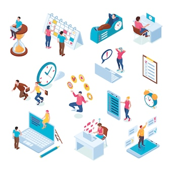 Plazo de gestión del tiempo reunión estrategia planificación calendario cooperación multitarea productividad símbolos isométricos iconos conjunto aislado