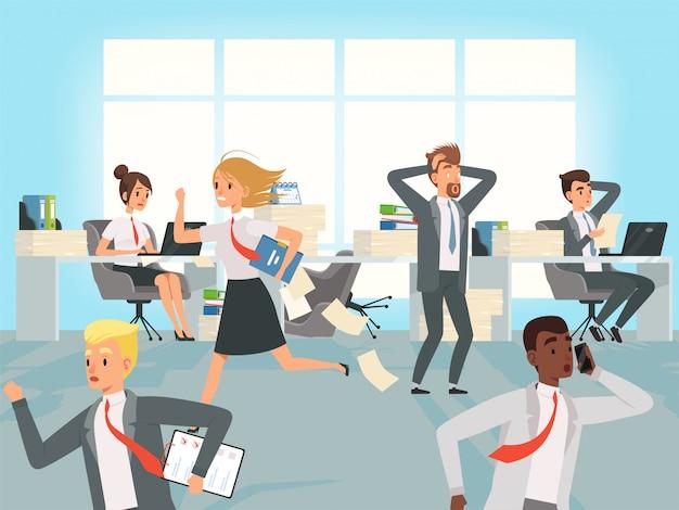 Plazo de oficina. los gerentes de trabajadores de negocios enfatizan correr en los lugares de trabajo en los personajes de trabajo
