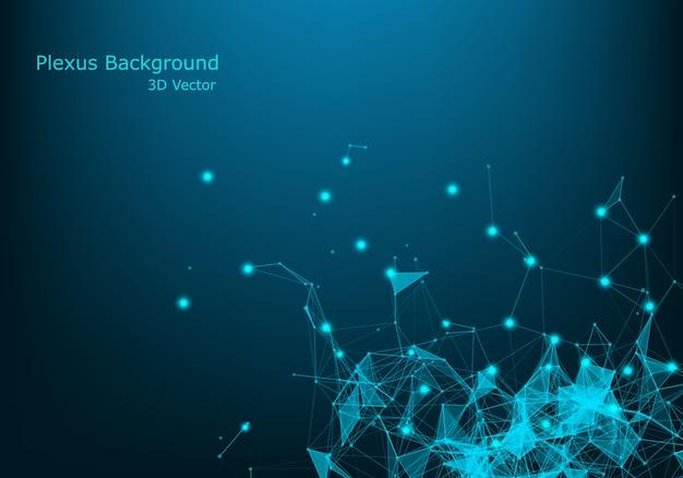 El plexo 3d le gusta el fondo. tema de tecnología y conexión. vértices brillantes conectados con líneas finas.