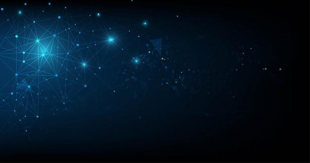 Plexo abstracto azul formas geométricas. conexión y concepto web. fondo de red digital, comunicación y tecnología con puntos y líneas en movimiento.