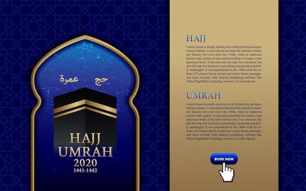 Pligrimage islámica en arabia saudita hajj umrah, plantilla de banner