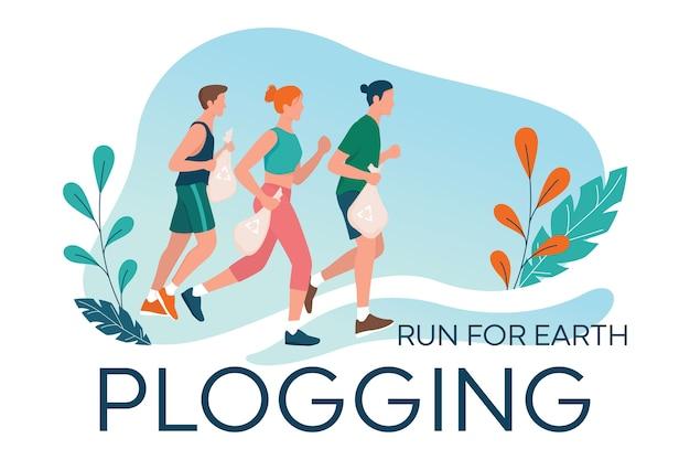 Plogging. la gente recoge basura durante el trote. mujer y hombre recogen basura mientras corren. estilo de vida ecológico y saludable.